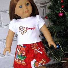 Sweet Gingerbread - American Girl Doll Clothes Christmas Top and Skirt. $20.00, via Etsy.