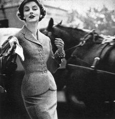 Margaret Phillips in fitted tweed day-suit by John Cavanagh, Vogue, September 1, 1953 | Flickr - Photo Sharing!