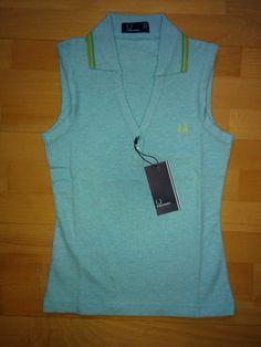 BNWT New Fred Perry Sleeveless Women's Polo Top Shirt Vest 8 10 S/M Blue Mod Ska