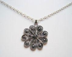 Necklace Silver oxides filigree big Flower by Viyoli on Etsy, $95.00