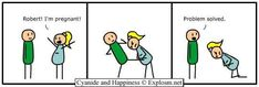 Cyanide and Happiness, a daily webcomic Cyanide And Happiness Comics, Rage Faces, Pregnancy Jokes, Childfree, Humor, Laughing So Hard, Funny Comics, I Fall, Comic Strips