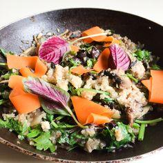 Quinoa, mushroom, spinach, carrot
