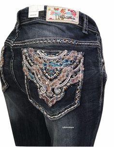 Grace in La 5963 Size 17 Embroidered Flap Pocket Straight Jeans  - Plus Size #GraceInLA #StraightLeg