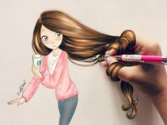 Amazing hair drawings by debby arts & kristina webb Amazing Drawings, Beautiful Drawings, Cute Drawings, Hair Drawings, Amazing Artwork, Awesome Art, Awesome Paintings, Drawing Hair, Drawing Style