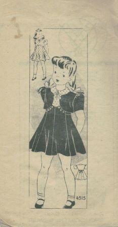An unused original ca. 1940's Anne Adams Pattern 4515.   Girls' princess seam dress with puff-sleeve bolero jacket. http://shop.okeebees.com/searchquick-submit.sc?keywords=4515