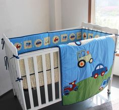 67.00$  Buy now - http://alidqj.worldwells.pw/go.php?t=32602486824 - Promotion! 3pcs Embroidery 100% Cotton Baby Bedding Set Super Good Quality Baby Bed Cunas ,include (bumpers+duvet+bed cover)