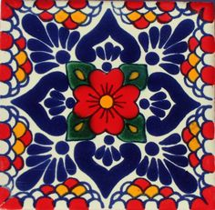 Mexican Talavera tile - coffee flower in the middle with green leaves and shades of red cherries on the side