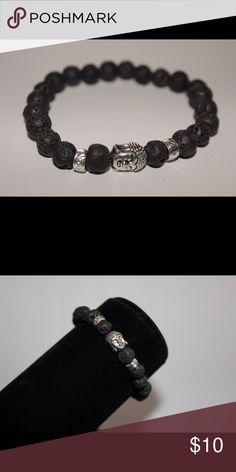 Buddha Bracelet with Lava Stones 20 cm length and 8 mm beads Jewelry Bracelets