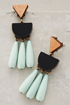 Naples Drops #anthropologie. I like these as a nice pop of color/accent for a SIMPLE outfit. Black pants and the black silk top with the circle pattern.....POP Anne with sea foam green
