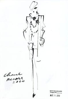 Miyuki Ohashi fashion illustration, Chanel Resort 2014