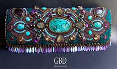 Caribbean Treasures evening bag, clutch embroidered with beads, natural stones and Swarovski crystals We used natural amethyst, natural turquoise, chrysocolla luxurious, pyrite crystals and Czech beads swarovski pendant  itself clutch Handbags (factory) sewn satin, one compartment, a removable strap fastens with a magnet