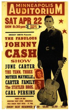 To the man in black: Happy birthday, Johnny Cash. Johnny Cash June Carter, Johnny And June, Tour Posters, Band Posters, Pin Ups Vintage, Vintage Rock, Johnny Cash Show, Pop Internacional, Poster Festival