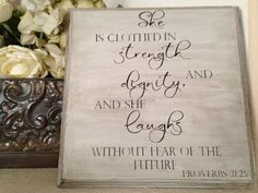 Proverbs 31 Sign 3125 Scripture Customizable by OneChicShoppe, $28.00