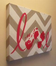 "Custom Handprint and Footprint ""Love"" Canvas Art with Print Kit, Chevron, 12x16"", by SnowFlowerArts"