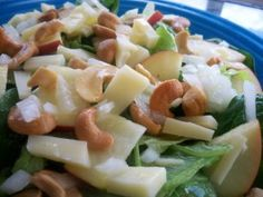 Apple, Cashew, Swiss Cheese Salad - Add 1 1/2 teaspoons poppy seeds. Use 1/2 teaspoon dried onion