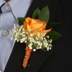 FiftyFlowers.com - Classic Rose Orange and Yellow Boutonniere and Corsage Wedding Package