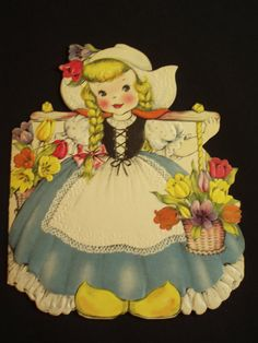 1940s greeting card features a Dutch doll, front and back.greeting card