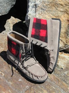 Who doesn't love buffalo plaid? This suede moccasin features a fringe all around, a plaid cloth accent and rubber sole. Buffalo Plaid, Moccasins, Flats, How To Wear, Clothes, Fashion, Penny Loafers, Toe Shoes, Moda