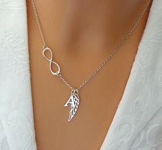 Personalized Angel Wing Necklace, Sterling Silver Wing Infinity Necklace, Guardian angel charm, Infinity Angel Wing Pendant, Wing Necklace