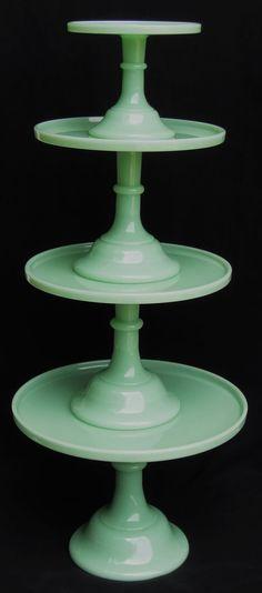 Mosser Jadeite Cake stands http://www.surlatable.com/product/PRO-1478478/Mosser+Jadeite+Cake+Stand