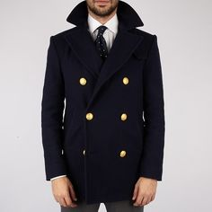 mrmoderngentleman:  All I want for Christmas is you…Ovadia and Sons navy Peacoat with gold shank buttons, martingala back, and a throat latch. All for a whopping $1300.