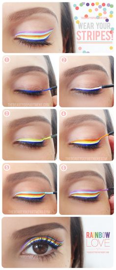 Light and bright rainbow eyeliner! #diy #beauty I want to create crazy makeup scene that would be relevant to the story sort of like a candy shoot.