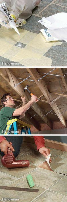 Floor: Install, remove and repair carpet, hardwood floors, vinyl flooring, tile floors and how protect your garage floor with epoxy paint. http://www.familyhandyman.com/floor