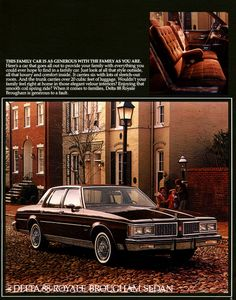 1984 Oldsmobile sales literature, featuring the Delta 88 Royale Brougham Sedan.