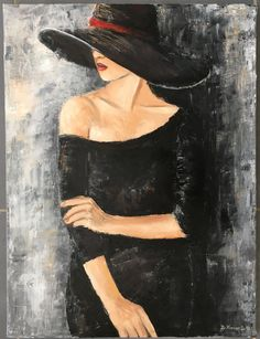 Painting woman with the black dress, mixed media acrylic and oil, gray, black, red tones. Star Painting, Dress Painting, Art Prints For Sale, Paint Party, Color Trends, Cute Art, Canvas Art, Silhouette, Drawings