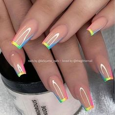 Summer Acrylic Nails, Best Acrylic Nails, Summer Nails, Nail Polish Designs, Acrylic Nail Designs, Nails Design, Rainbow Nail Art Designs, Salon Design, Nails Now