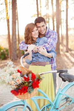 Couple With Vintage Blue Bike | photography by http://www.jlaynephotography.com