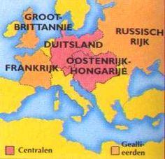 Bondgenootschappen:  - Centralen: Duitsland, Oosterijk-Hongarije en het Turkse rijk. - Geallieerden: Engeland, Frankrijk en Rusland