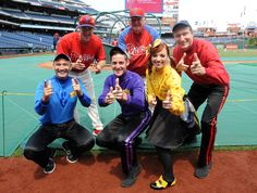 The Wiggles with Chase Utley and Charlie Manuel.