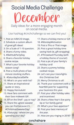 our FREE December Social Media Challenge so you can plan ahead, be consistent and have great engagement all month long! Social Media Challenges, Social Media Content, Social Media Tips, Photo Challenges, Social Media Games, Social Media Branding, Social Media Marketing, Marketing Ideas, Business Marketing