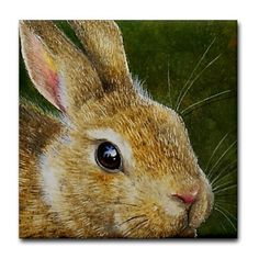 "Bunny Rabbit Accent Tile Coaster by CafePress . $10.50. Ceramic. Four felt pads protect your furniture from scratches. Dishwasher safe. Not for use with abrasive cups and mugs. 4.25"" x 4.25"" and 1/6-inch thick. Melody Lea lamb's miniature wildlife art beautifully printed on these quality ceramic tile coasters. Each animal art coaster is unique and would make a great gift item or accent for your home."