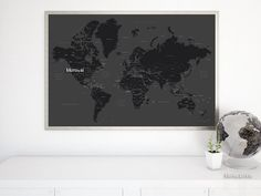 Black & white world map print with countries and states labelled #WorldMapPrintWithStatesAndCountries #map140 #WorldMapWithUsStates #WorldMapWithCountries #PrintedProduct