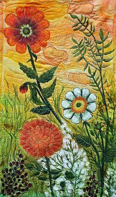 "Tangerine Sky"" is an original silk art quilt by Chris Daly"