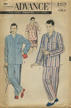 Items Similar To Men S Pajama Pattern Advance 8217 Size On Etsy Simi Adelynn 1950 Fashion