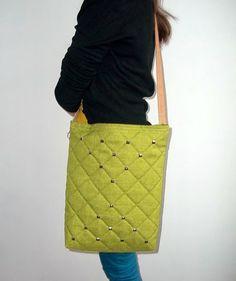 Shoulder Bag HOBOQuilted fabric Green Bag Spring Bag by ILAJLA, $49.00