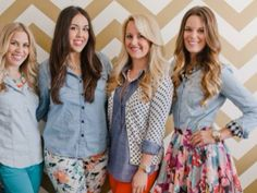 Chambray outfits - my fave is the polka dot blazer one and the floral skirt w the checked cuff one.