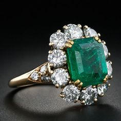 Emerald and Diamond Ring, French image 2