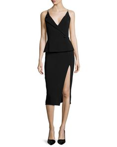 Buttoned+Peplum+High-Slit+Dress+by+Cushnie+et+Ochs+at+Neiman+Marcus.