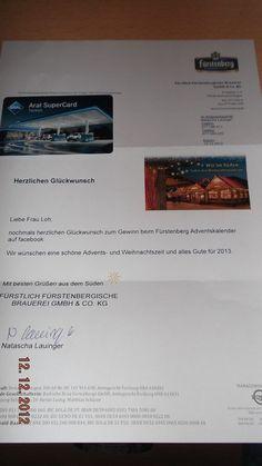 Fürstenberg Adventskalender Gewinn ;-) :: Ninatestet