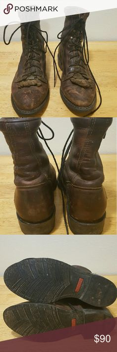 Double- H Ladies Lacer Boots Worn only about 15 times. Scuffed from riding but only superficial and will lessen with oiling. If you have ever owned or even touched a pair of Double-H boots you know how soft and supple their leather is. Very high quality boots. Double -H Shoes Lace Up Boots