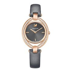 Swarovski Stella Dark Gray Leather RoseGold Tone Watch 5376842 for sale online Brown Leather Watch, Grey Leather, Smartwatch, Swarovski Watches, Swarovski Stones, Online Watch Store, Watch Sale, Bracelet Watch, Rose Gold