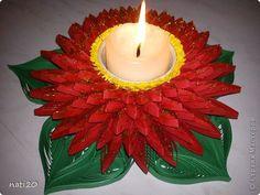 Поделка изделие Квиллинг Подсвечник - георгин цветок Бумага Бумажные полосы Клей Металл фото 1