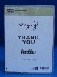Stampin' Up! Simply Celebrate  Enjoy Thank You Hello Set of 3 Stamps NIB #StampinUp