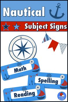 Subject signs are a great way to keep your nautical themed classroom neat and organized. Great for bulletin boards, bin labels and more!