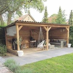 47 Incredible Backyard Storage Shed Design and Decor Ideas - Small Backyard Patio, Backyard Pergola, Backyard Landscaping, Gazebo, Patio Stone, Flagstone Patio, Deck Patio, Concrete Patio, Patio Table
