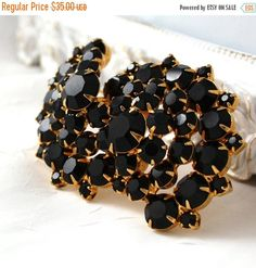 SALE Vintage Black Rhinestone Large Brooch Black and Gold